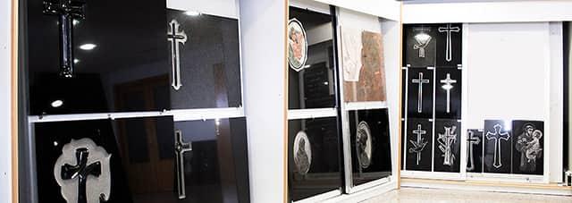 Funeraria vinue exposición de lápidas y mármoles